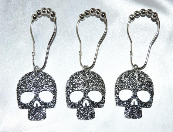 Sugar Skull Shower Curtain Hooks Set Of 12 Candy Calavera Day The Dead Skeleton Gothic