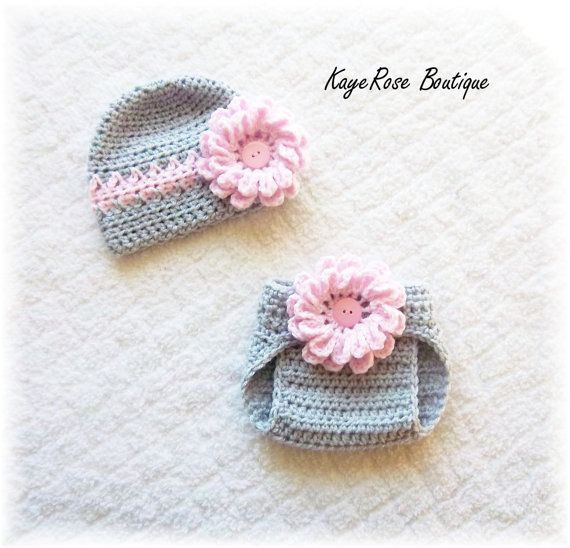 Newborn to 3 Month Old Baby Girl Crochet Flower Hat and Diaper Cover ...