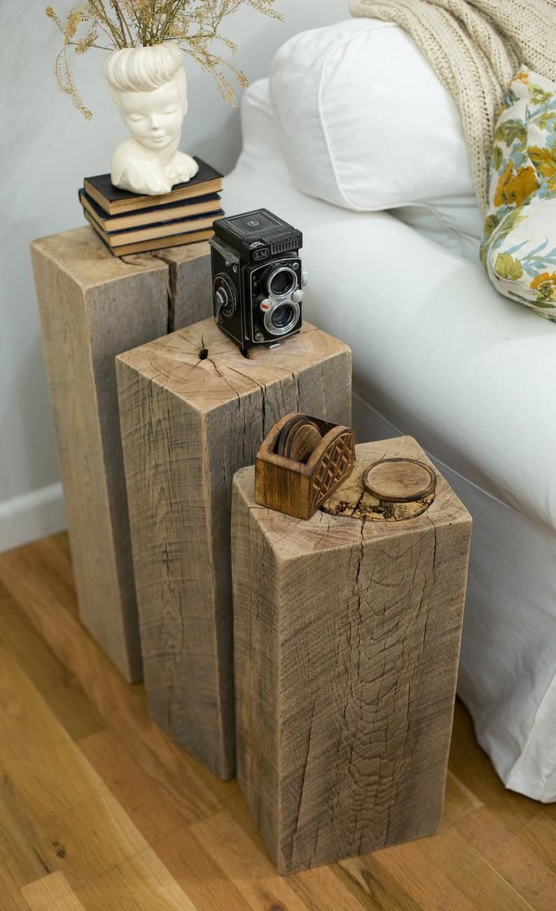 Reclaimed Wood Beam End Table Set