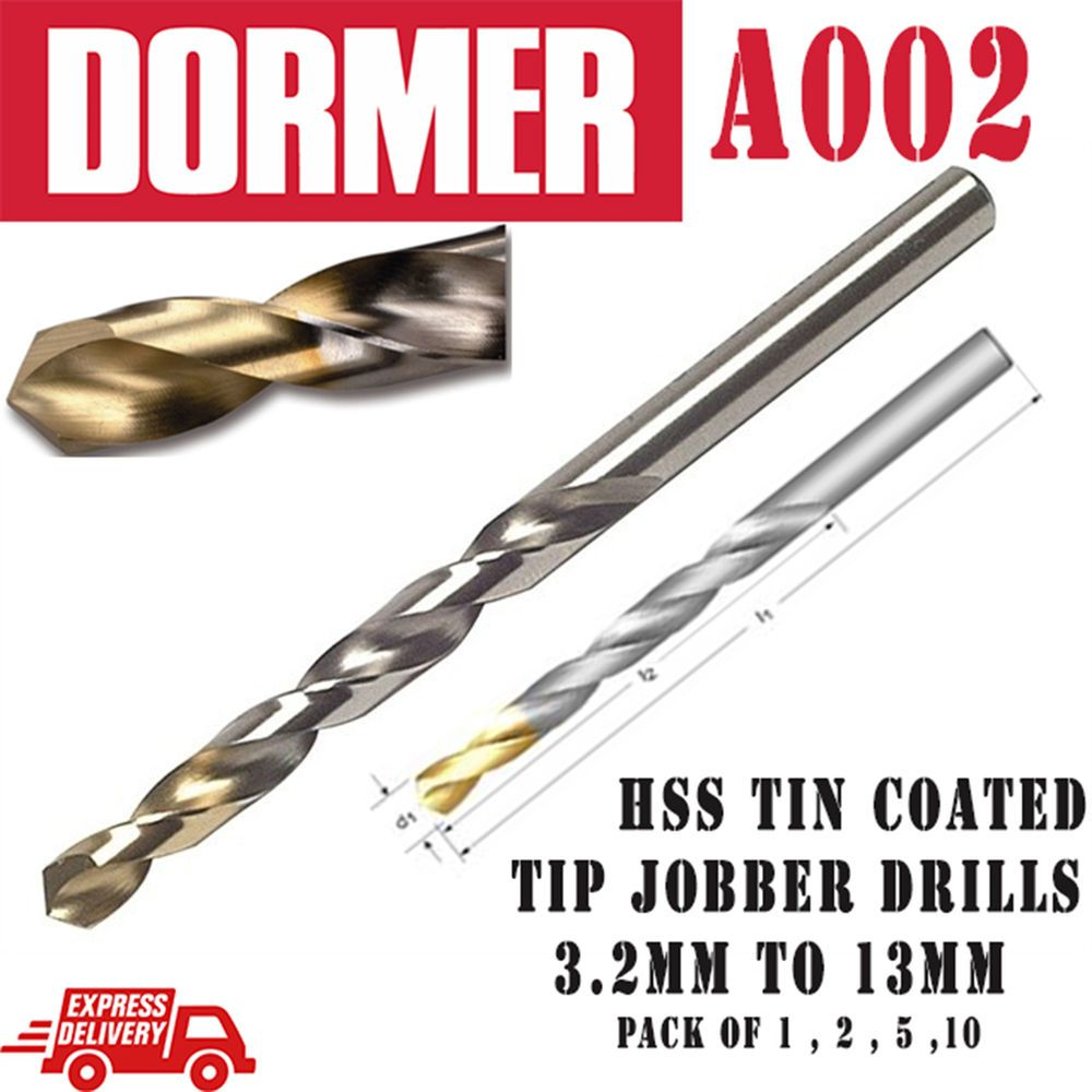 Dormer  A002 HSS Jobber Drill Bit with Tin Coated tip.