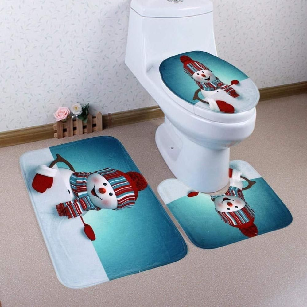 Snowman Bathroom Sets Snowman Bathroom Set Toilet Seat Cover Rug Washable Christmas