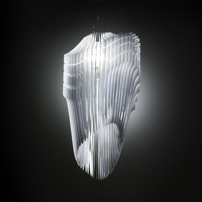 Zaha hadid avia aria lamp for slamp made of 50 individual layers of cristalflex a techno polymer