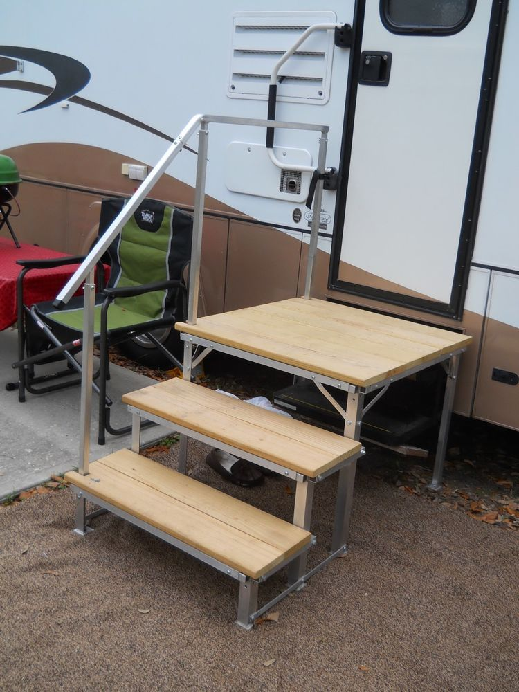 Rv: Portable RV Deck With Steps And Railings