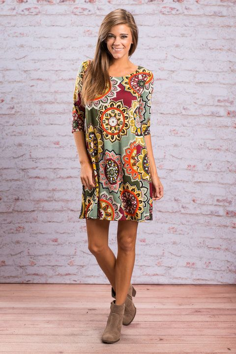 Fall Fun Dress Olive Burgundy This Print Is Too Hot