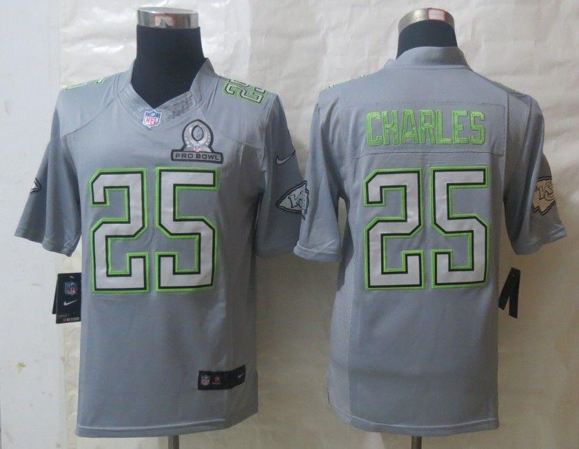 factory authentic 2f347 34fe3 Men's NFL Kansas City Chiefs #25 Charles Pro Bowl Grey   NFL ...