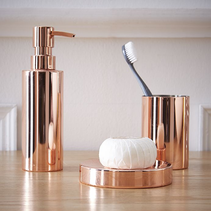 Accessoires de bain cuivr s no l id es d co - Deco salle de bain accessoires ...