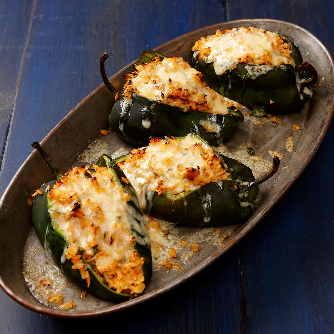 Poblanos Stuffed With Cheddar And Chicken Recipe Finecooking Recipe Mexican Food Recipes Authentic Poblano Recipes Mexican Food Recipes