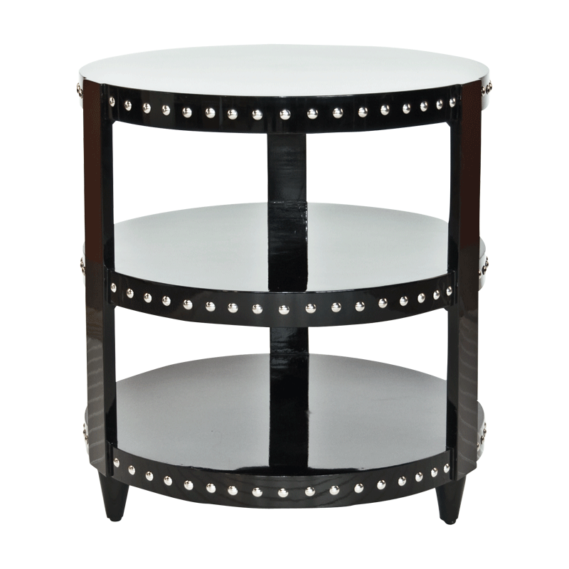 3 Tier Black Lacquer Studside Table From Worlds Away Free Shipping Black Side Table Table Accent Side Table