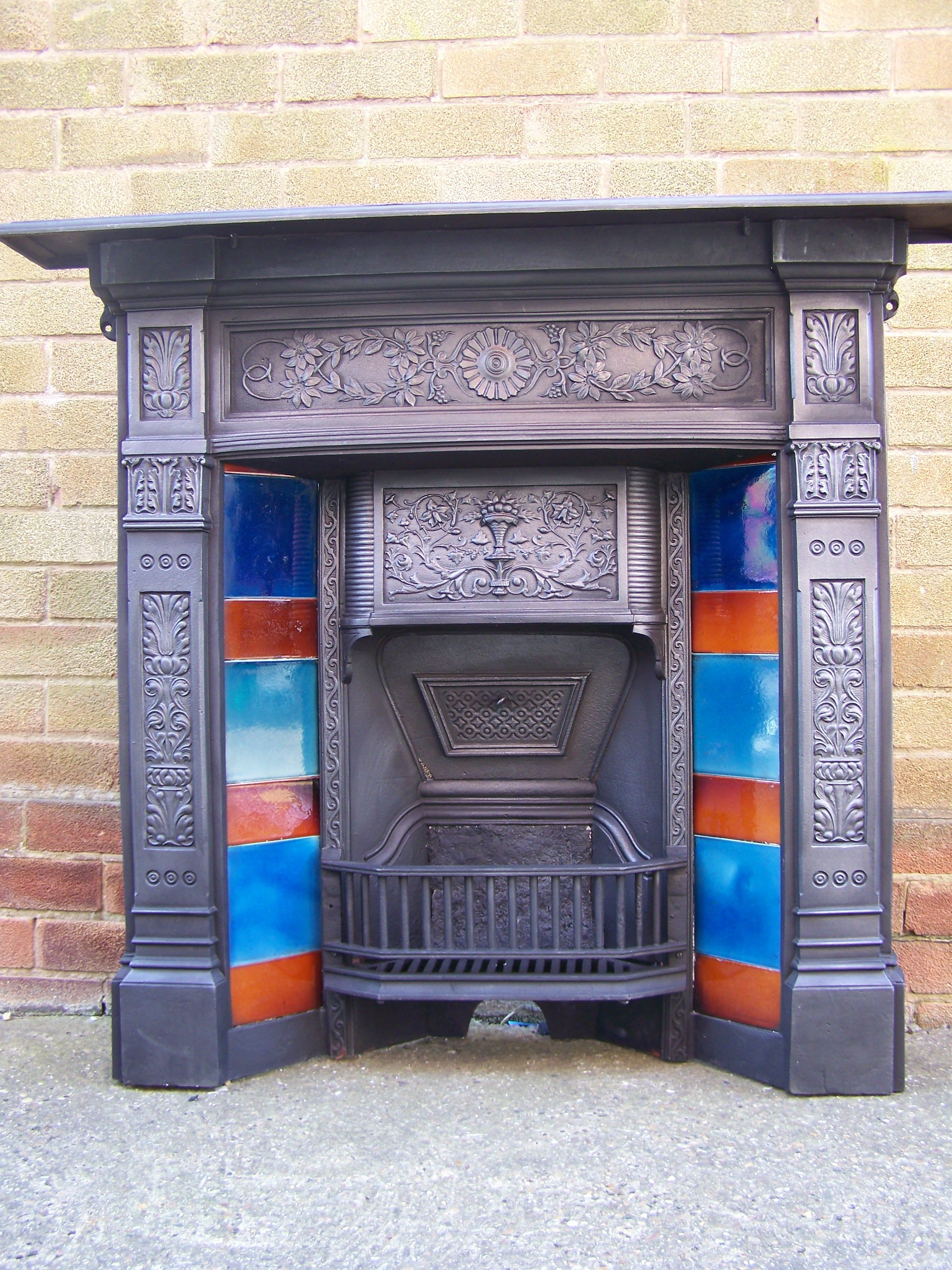 victorian cast iron fireplace with original minton tiles tiles