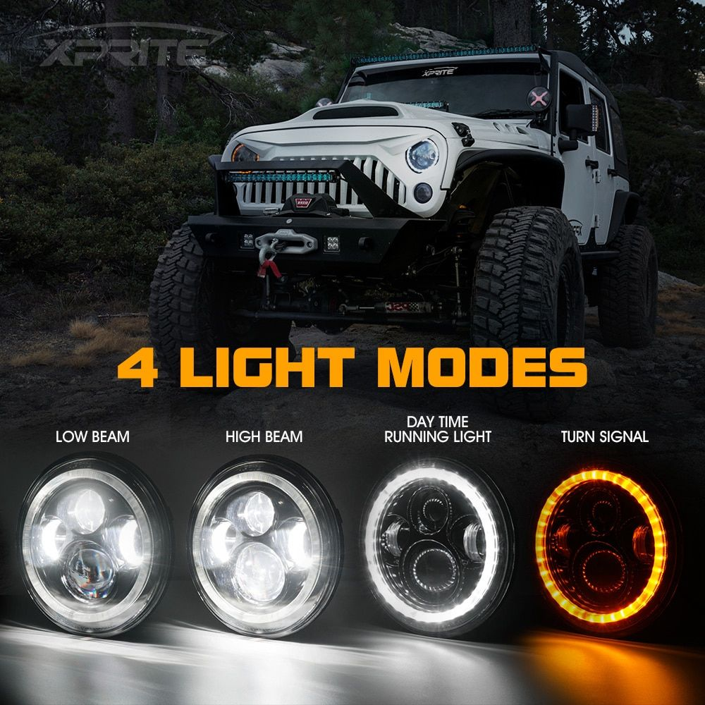 7 90w Philips Led Headlight With Halo For Wrangler Jk Xprite