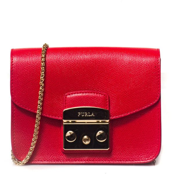 Furla Metropolis clutch bag ($205) ❤ liked on Polyvore featuring bags, handbags, clutches, rosso, red clutches, furla pochette, red purse, red handbags and furla handbags