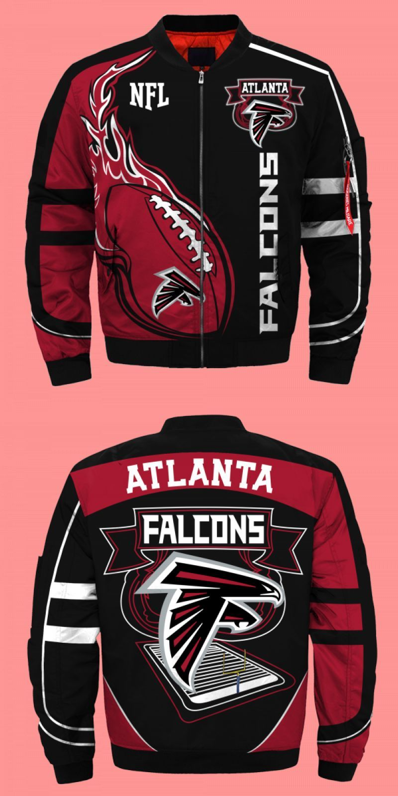 Atlanta Falcons Professional Nfl Team Overprint Limited Edition Streetwear Bomber Jacket Atlanta Falcons Professional Nf In 2020 Bomber Jacket Jackets Street Wear