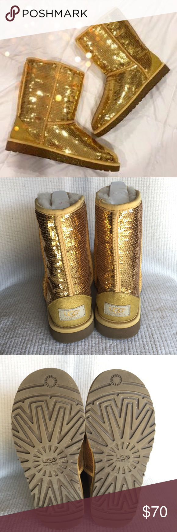 Gold · Classic short gold sequin Uggs ...