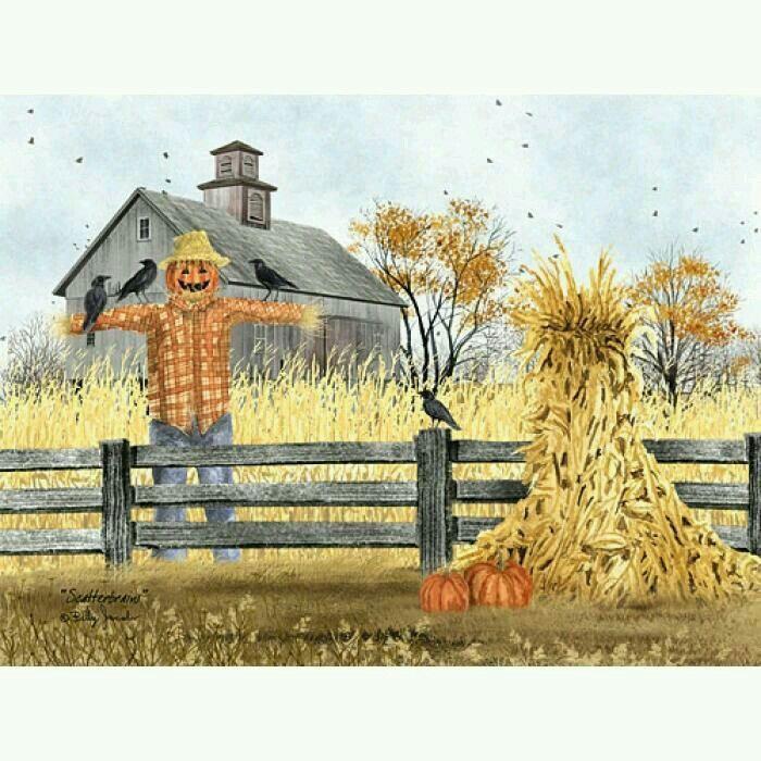 "Billy Jacobs/"" Pumpkin Wagon/"" Farm Barn Print 18 x 12"