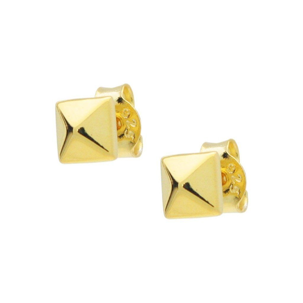 53d58b57428 Gold Plated Silver Polished Pyramid Stud Earrings in 2019 | Gold ...