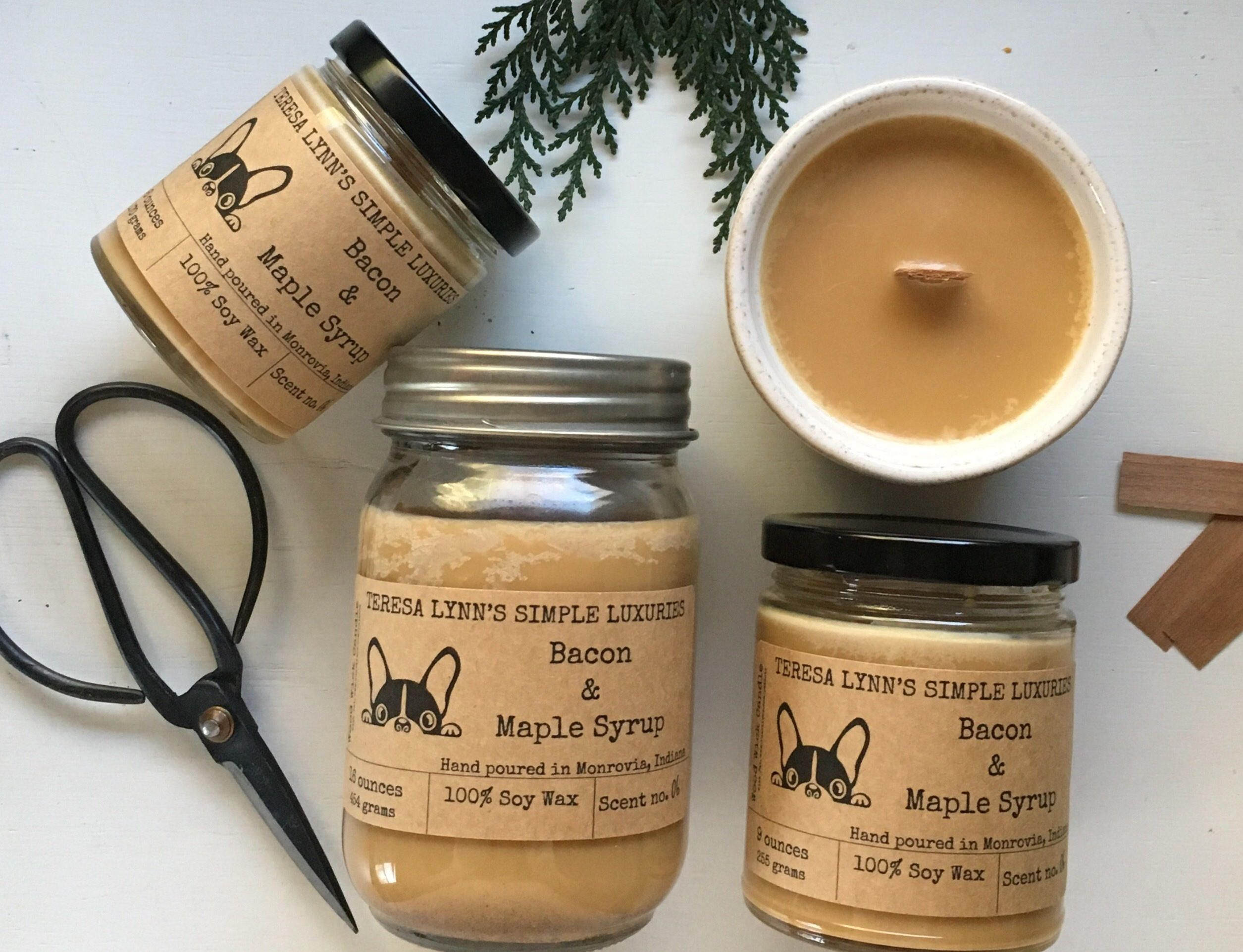 Bacon And Maple Syrup Candle Wood Wick Handmade Candle 120