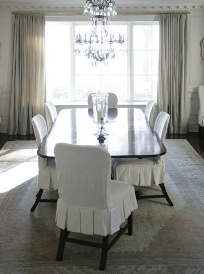 Phoebe Howard Classic Neutral Dining Roomlook At That New Slipcovered Dining Room Chairs Decorating Design