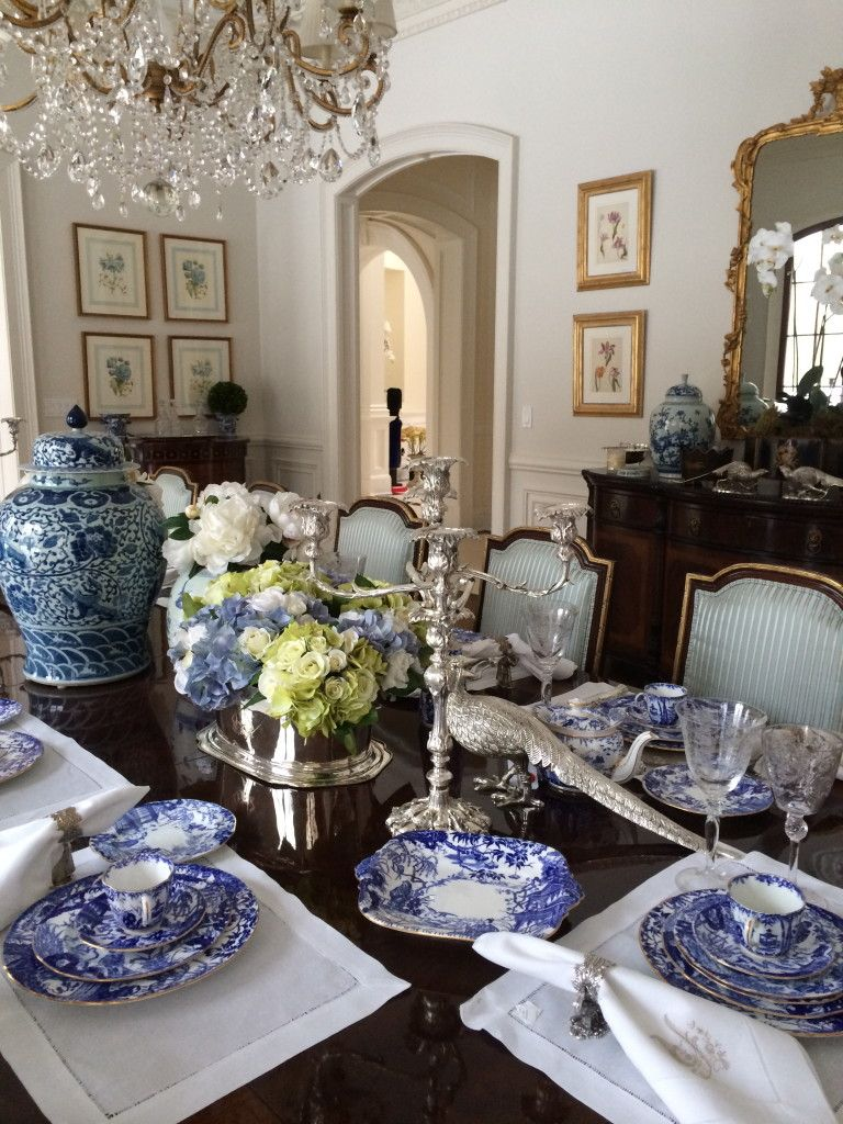 Setting A Blue And White Table The Enchanted Home  Outside Adorable Blue White Dining Room 2018