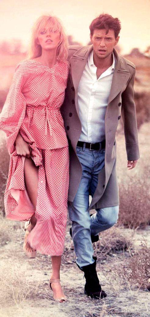 Anja Rubik by Alexi Lubomirski for VOGUE Russia with Sasha Knezevic | Fashion photography | Editorial | couple shot