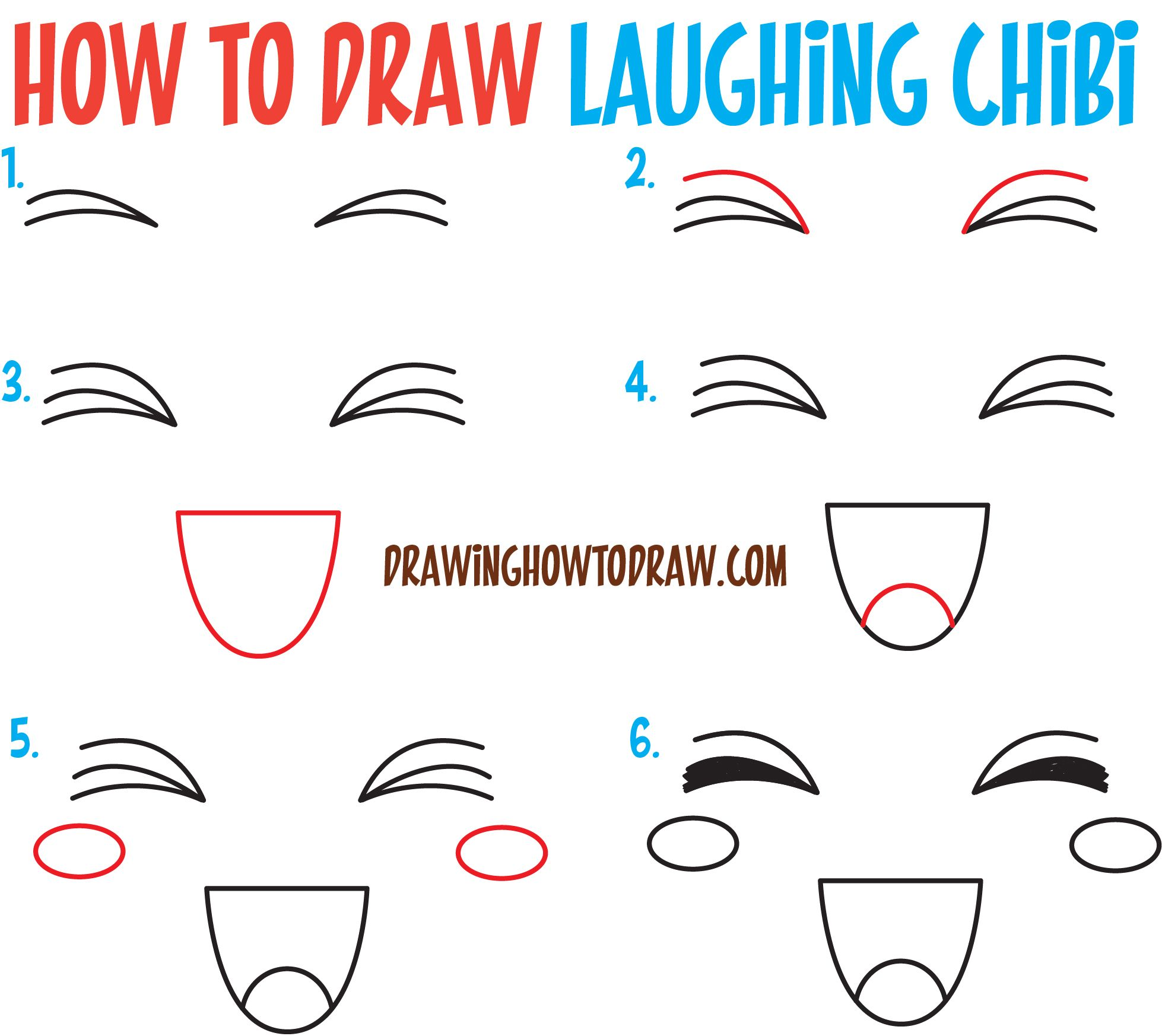 How to Draw Happy / Smiling / Laughing Chibi Expressions