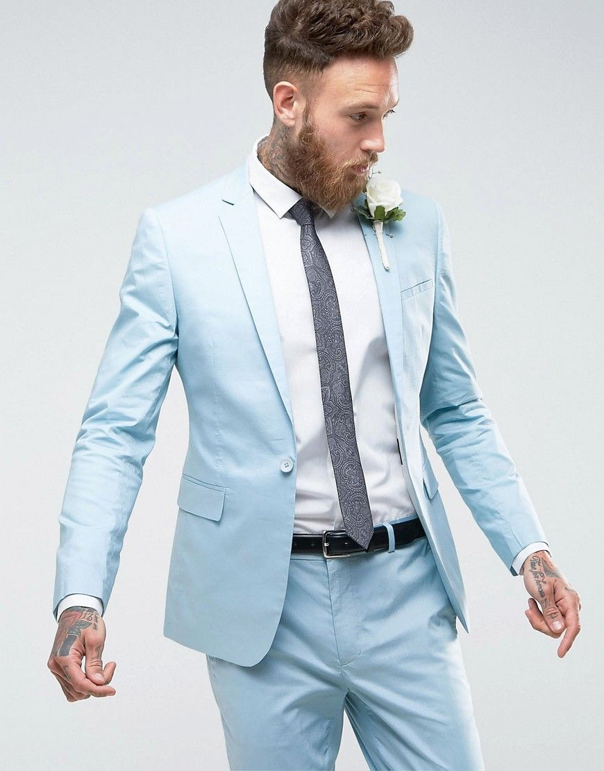 ASOS WEDDING Skinny Suit Jacket In Stretch Cotton In Light Blue ...