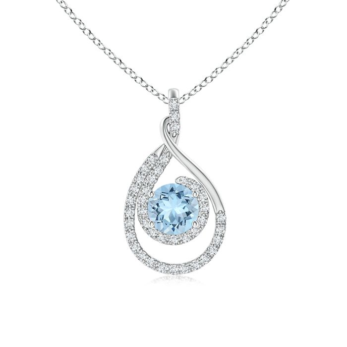 Angara Aquamarine Necklace - GIA Certified Oval Aquamarine Halo Dangle Pendant OPxiDf