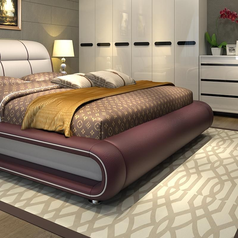 High Quality Bedroom Furniture Genuine Leather Bed Only With