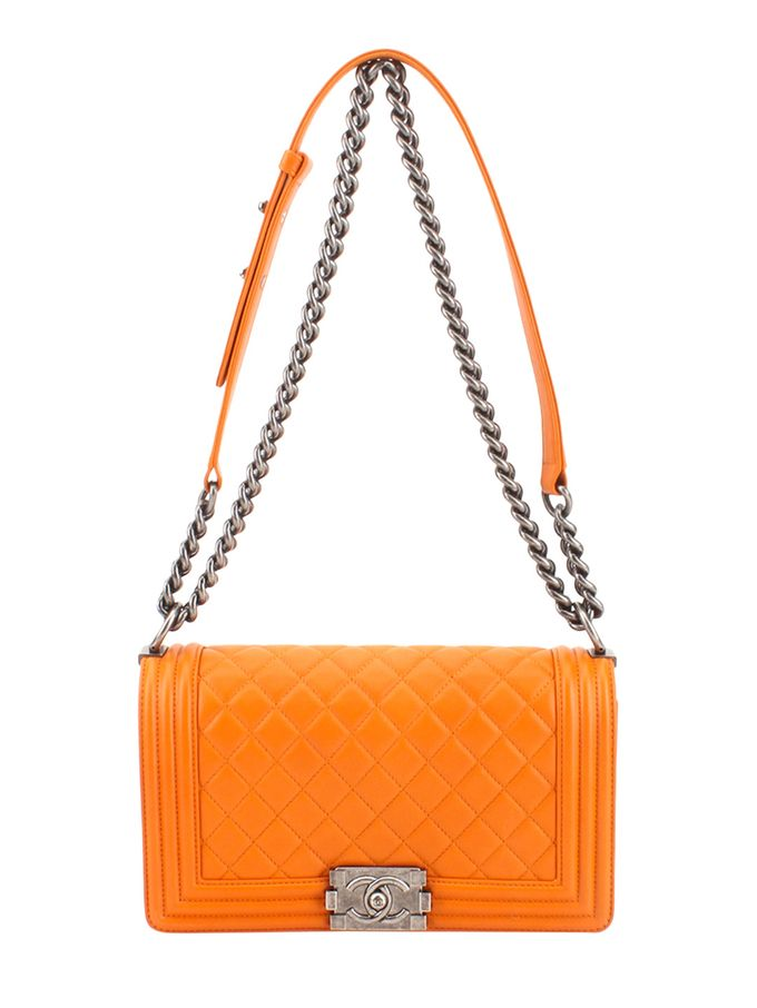 c635c5cbf915 Orange Lambskin Boy Quilted Flap Medium from Vintage Spotlight: The Chanel  Boy Bag on Gilt