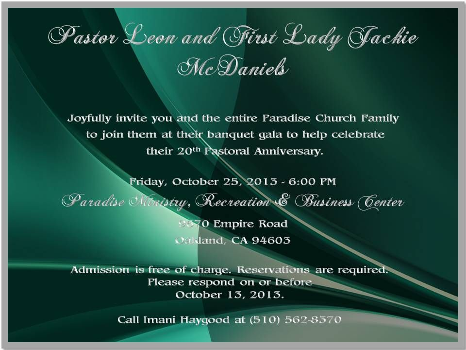 20th Pastoral Anniversary Invite Paradise Pastor Wife S 20th