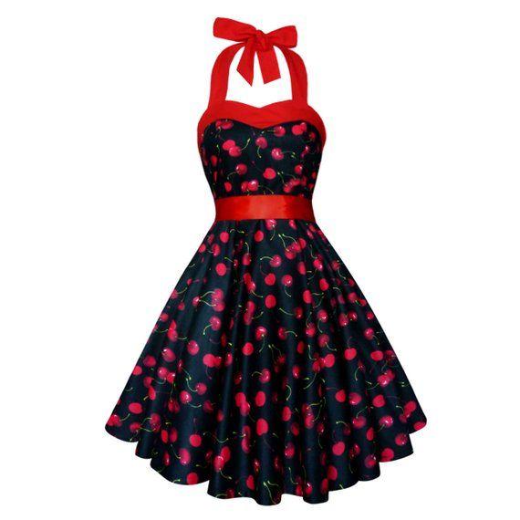 2f85bbb3ea913 Black Cherry Dress Black Red Cherries Vintage Dress Rockabilly Pinup ...