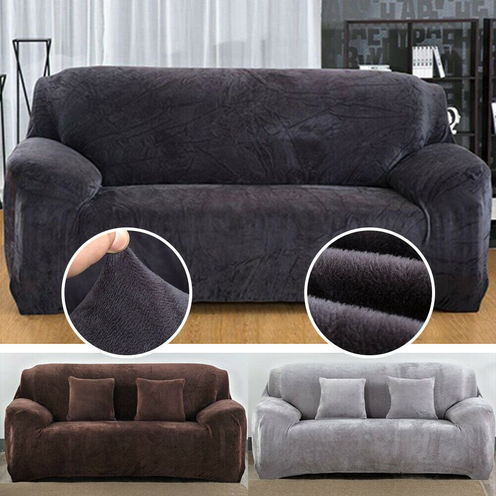 Details About Velvet Slipcover Sofa Covers Spandex Stretch Couch