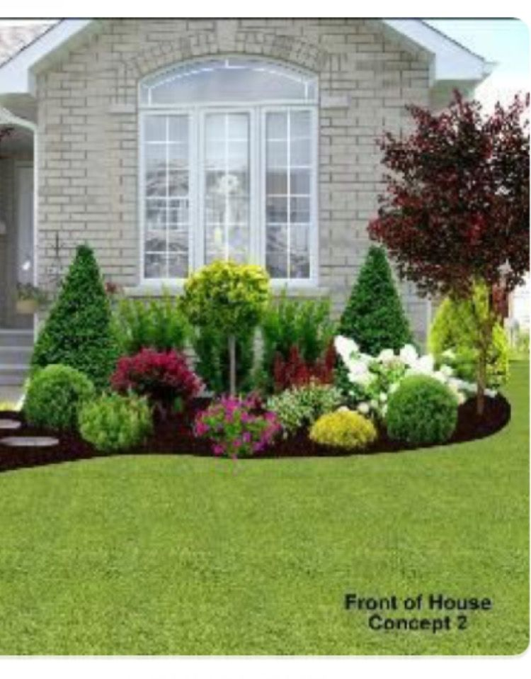 Front window garden curb appeal pinterest front for How to plant bushes in front of house