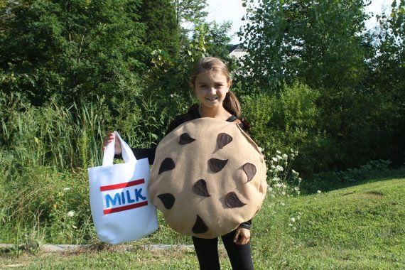 Too Sweet Chocolate Chip Cookies u0026 Milk Halloween Costume Includes Trick or Treat Bag Toddler/ Childs Sizes on Etsy $44.50  sc 1 st  Pinterest & Too Sweet Chocolate Chip Cookies u0026 Milk Halloween Costume Includes ...
