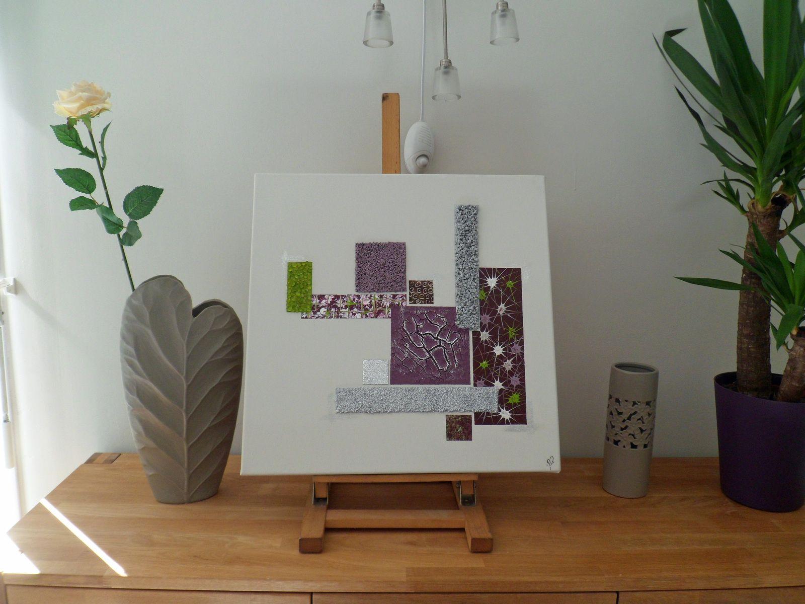 peinture mural blanc prune violet vert argent 50 x 50 cm inez tableau peinture abstrait design moderne contemporain dcoration murale acrylique
