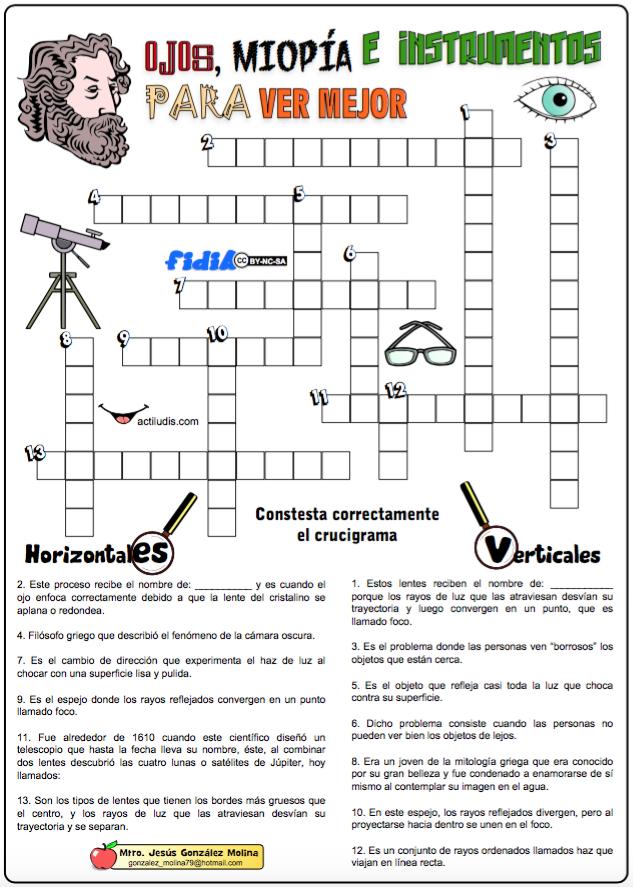 Ojos Miopia E Instrumentos Para Ver Actiludis Ensenanza Creativa Actiludis Crucigramas
