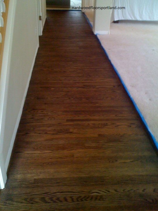 Coffee Brown Red Oak Floors Refinishing Hardwood Floors
