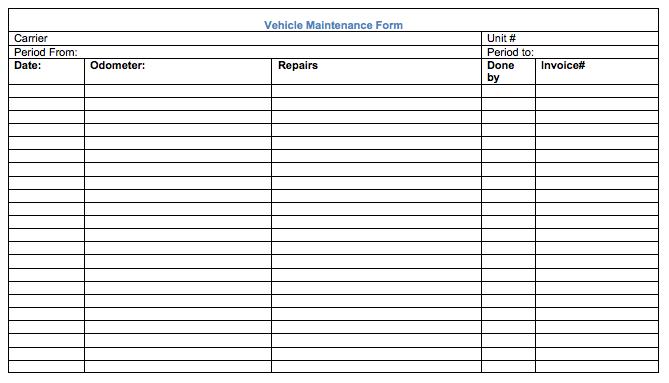 Vehicle Maintenance Record Form | Car Maintenance Tips | Pinterest ...