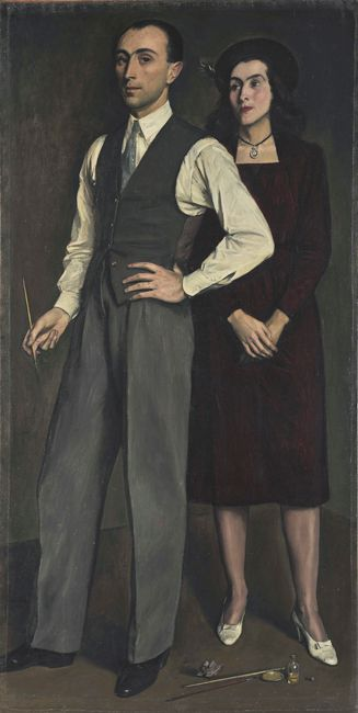 Yiannis Moralis - The Artist with his Wife, 1943 (Greek 1916-2009)