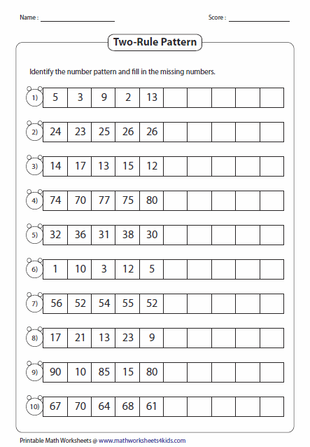 Two Rule Pattern Type 2 Number Patterns Worksheets Math