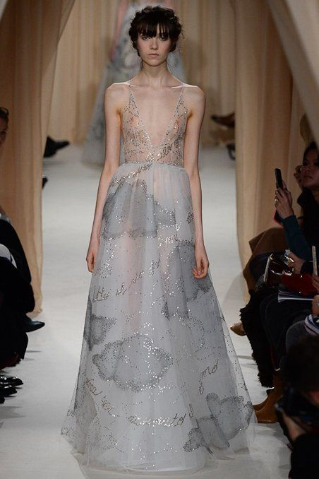 Valentino Haute Couture - Cascade down the aisle in this ethereal confection with a dreamy, cloud motif.