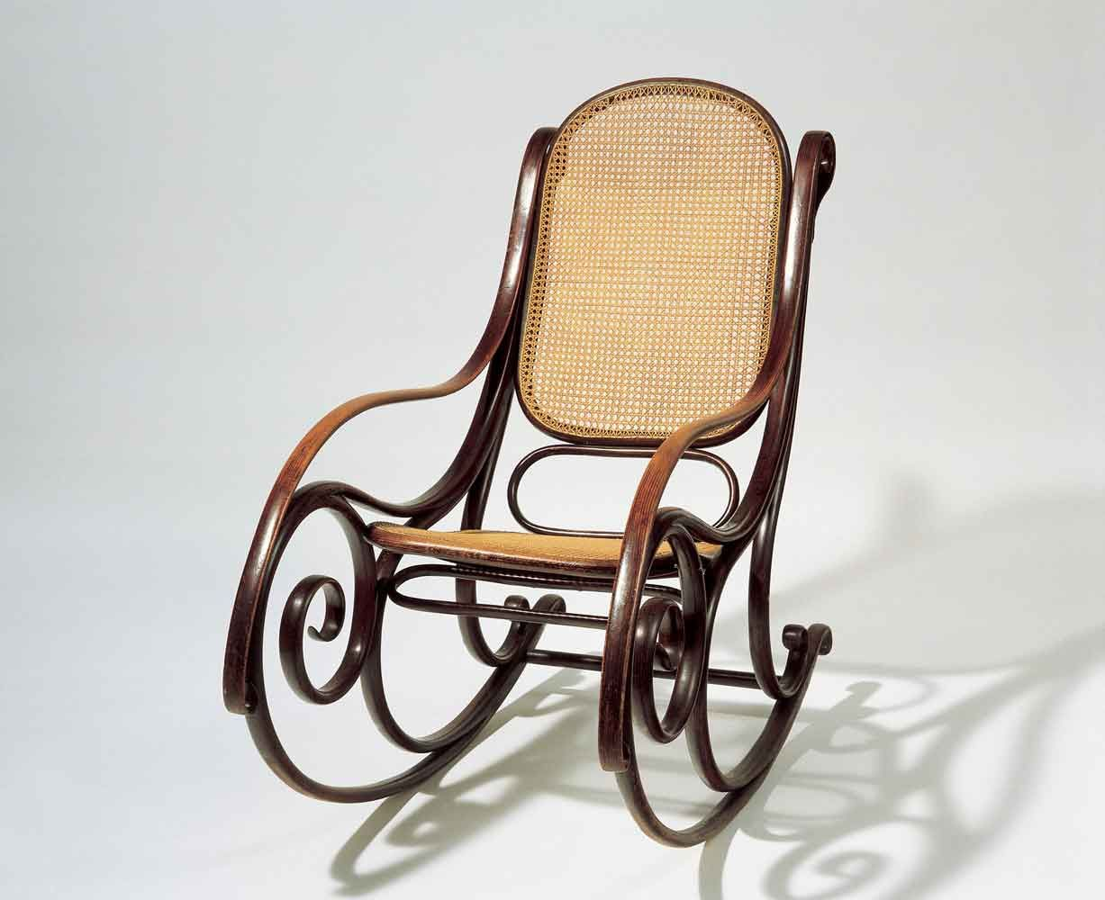 Original white painted bentwood rocking chair is no longer available - Mechael Thonet Rocking Chair No 1
