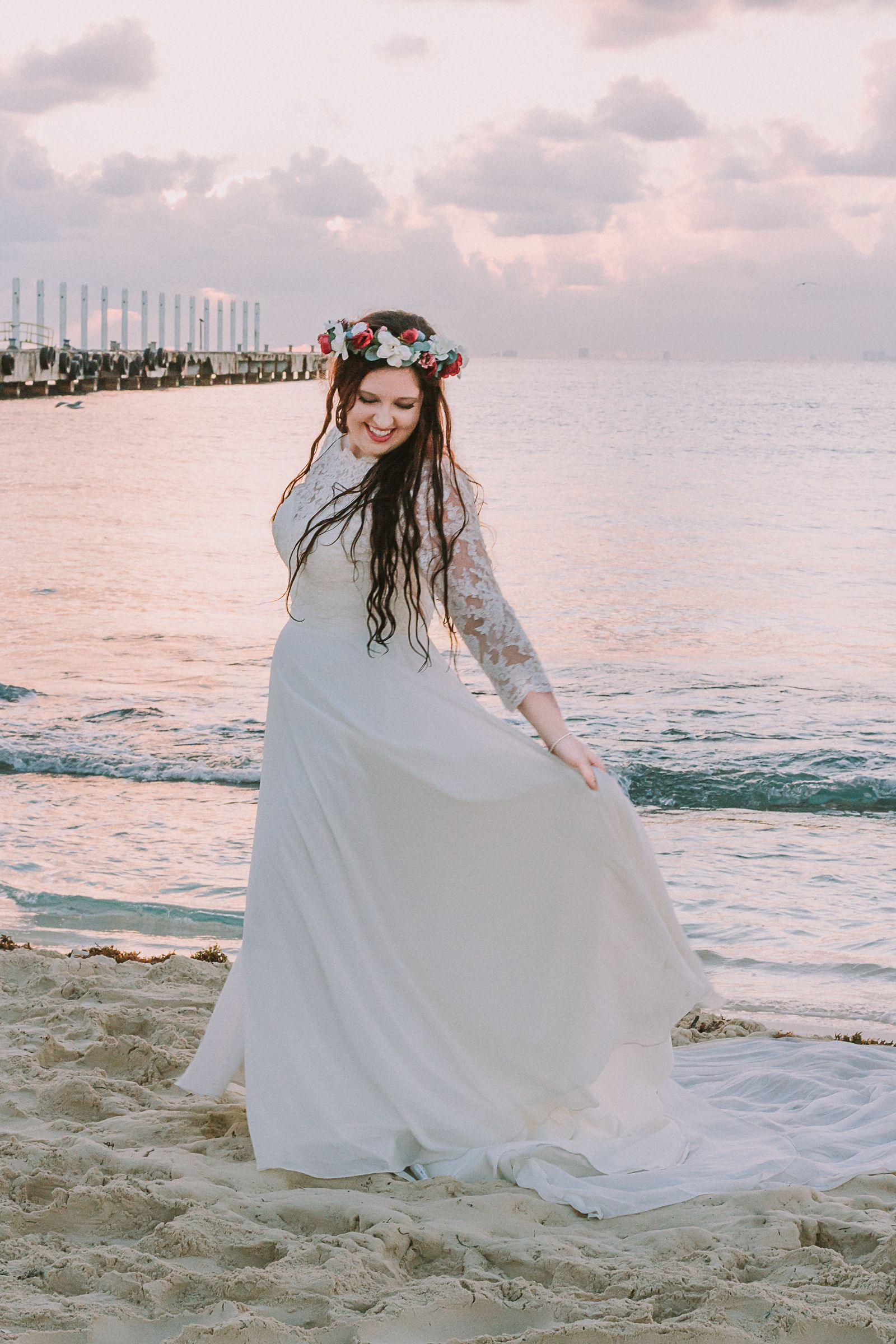 Bridal Portrait, Wedding Photos, Beach Wedding, Boho Wedding, Bohemian Bride, Destination Wedding, Mexico Wedding, Wedding Pictures, Wedding Dress, Flower Crown