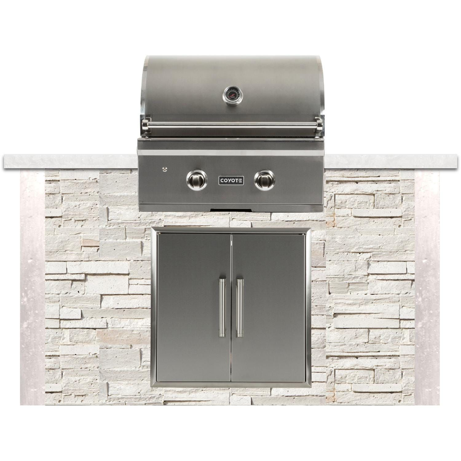 Coyote Ready To Assemble 5 Ft Outdoor Kitchen Island With 28 Inch C Series Propane Gas Grill Stacked Stone Modern White Rtac G5 Sw C1c28lp Bbqguys Outdoor Kitchen Island Outdoor Kitchen Bbq Grill Island