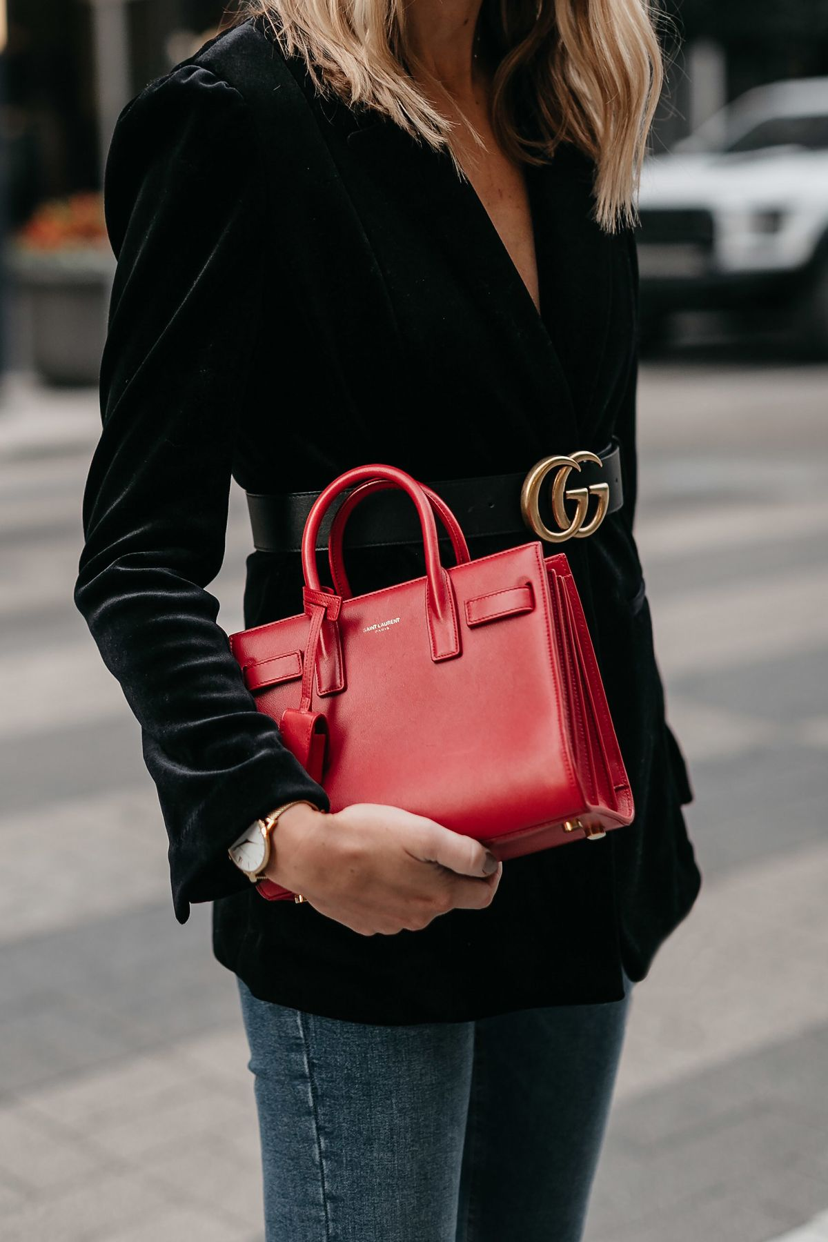 90f000c72a50 Saint Laurent Red Sac De Jour Black Velvet Blazer Gucci Marmont Belt Fashion  Jackson Dallas Blogger Fashion Blogger Street Style