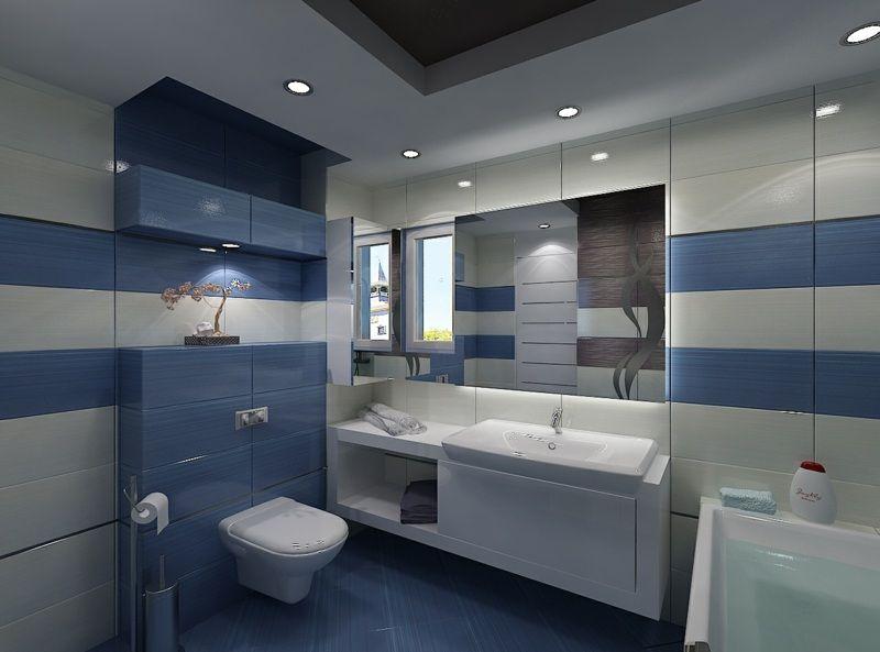 Kleines Badezimmer Waschschrank Weiss Gestaltung Hellblau Streifen