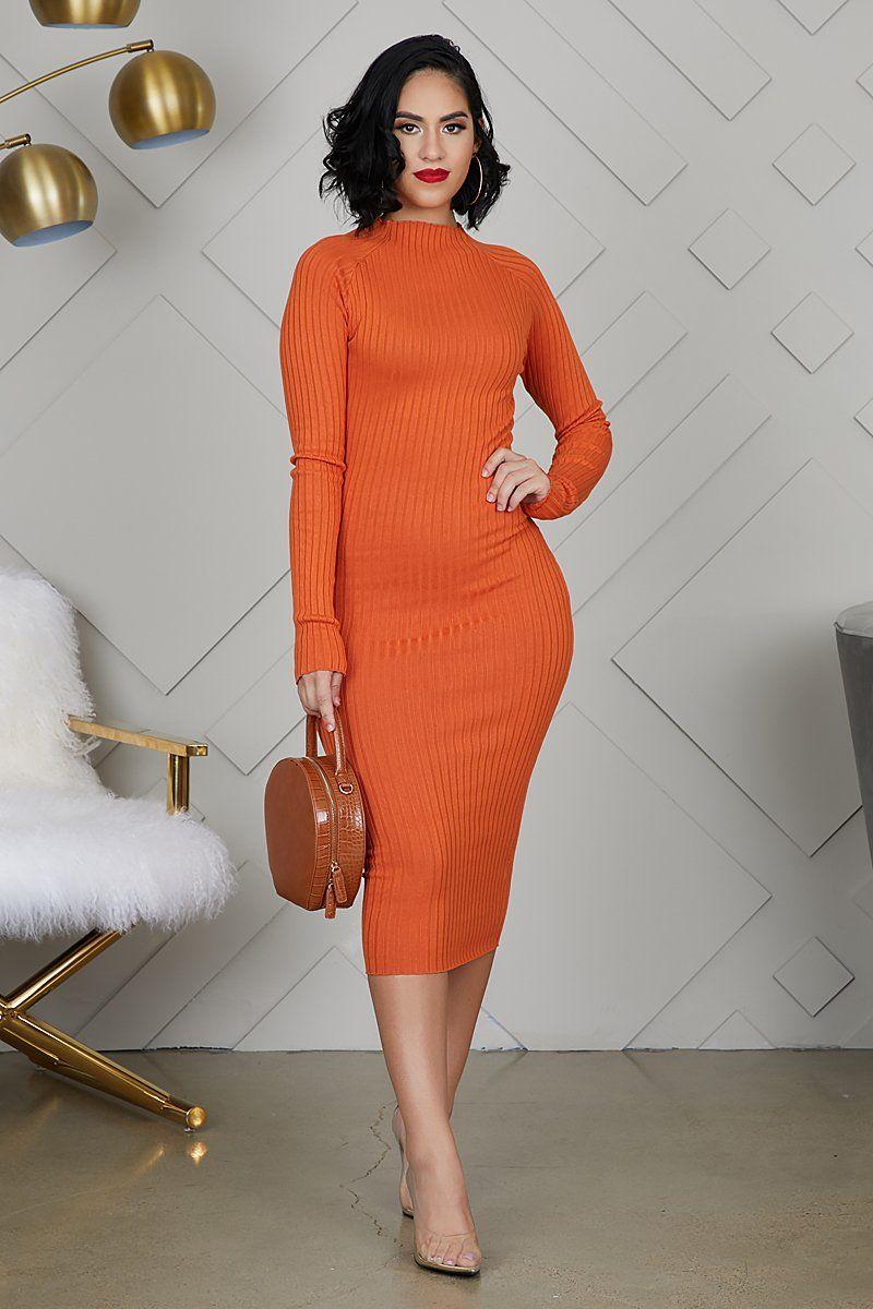 Fitted Knit Midi Dress Orange Orange Long Sleeve Dress Orange Midi Dress Knit Midi Dress [ 1200 x 800 Pixel ]