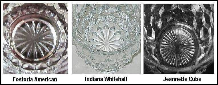 Cube Pattern Variations Fostoria Indiana Jeanette Glass