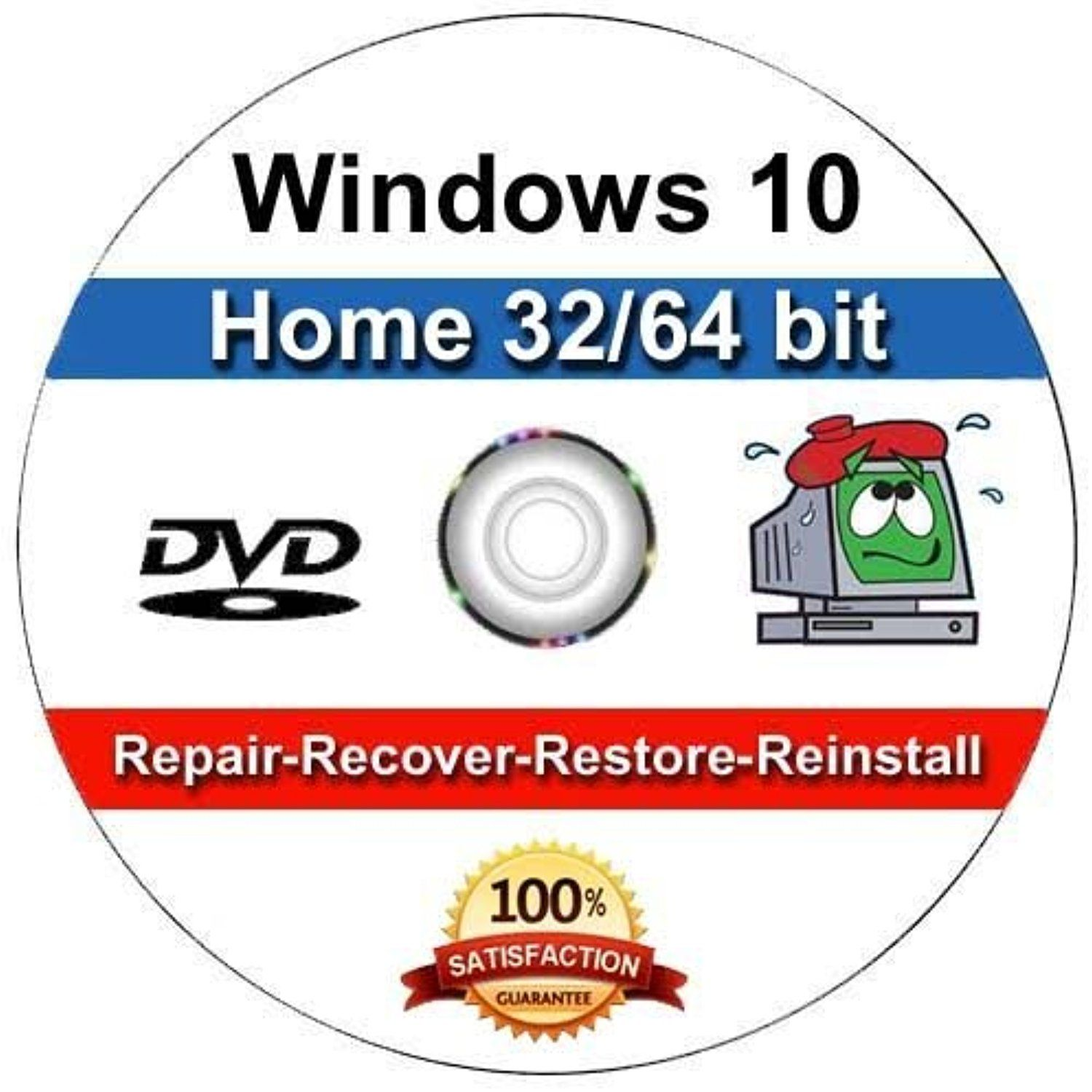Windows 10 - 32/64 Bit DVD SP1, Supports HOME Edition  Recover