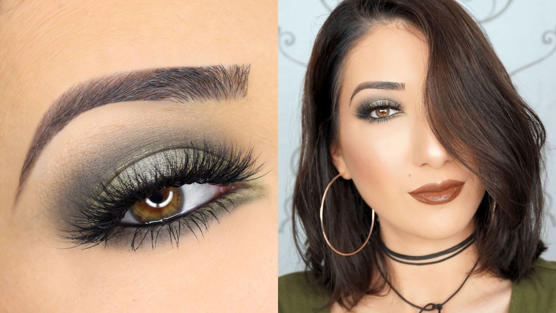 olive green smokey eye makeup tutorial | nails,eyes and more