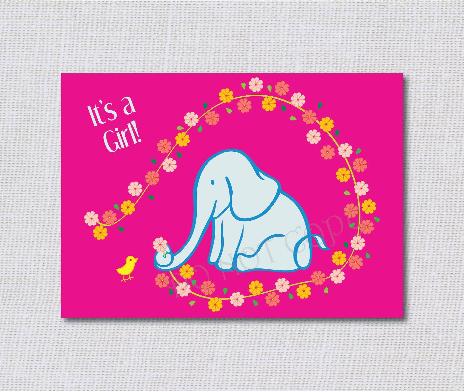 Baby Shower Invitation  Pink Elephant Flowers by DaisyDesignShop,